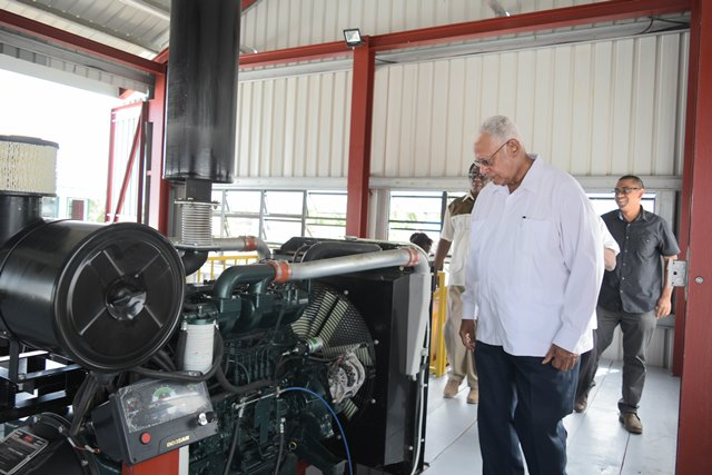 Minister of Agriculture, Noel Holder during a tour of the Buxton/Friendship Pump Station.