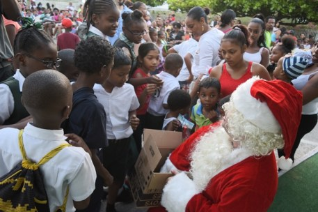 The Children as they interact with Santa Claus.