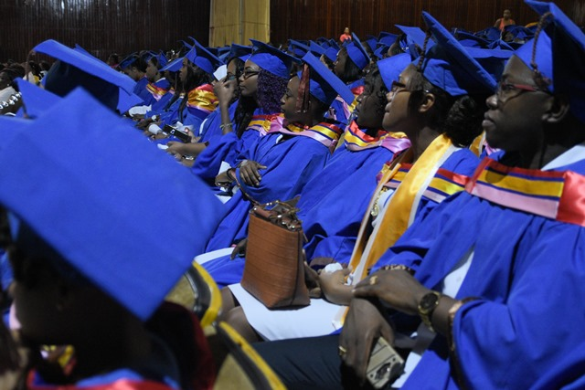 A section of the nurses seated briefly before they graduated.