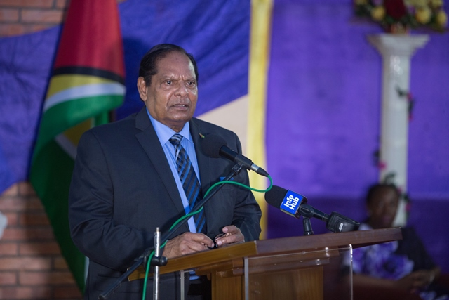 Prime Minister Moses Nagamootoo, who is also performing the duties of president.