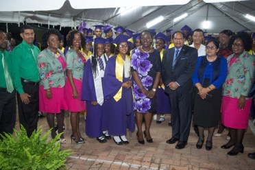 [In photo, from left] Minister of Education, Nicollette Henry, Prime Minister Moses Nagamootoo and his wife Sita Nagamootoo, and graduates of President's College.