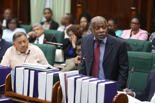 Minister of Foreign Affairs, Carl Greenidge during the 99th Sitting of the National Assembly.