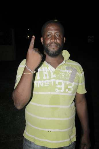 Wilborn Fortune, the last voter to cast his ballot in Constituency Three in Bartica before the polls closed.
