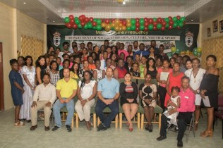 Graduates of Government's Youth Leadership Training Programme with Director of Youth, Melissa Carmichael-Haynes, Senior Education and Training Officer, Ronald Austin Jr. and Chief Executive Officer of GO-Invest, Owen Verwey.