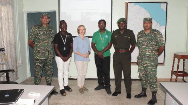 MapAction trainer Anne-Marie Frankland (third from left) with participants of the GIS training.