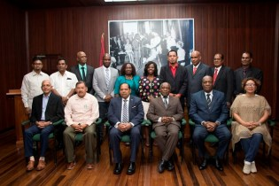 Prime Minister, Moses Nagamootoo and other Ministers of Government with the newly elected Mayors from across Guyana.