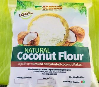 Packaged Coconut flour locally produced by Haeeza Smith.