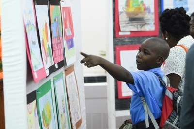 A student viewing the artwork on display.
