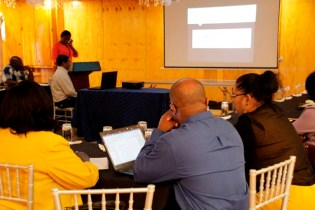The meeting in session as one of the REdOs makes her presentation.