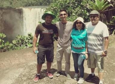 The Sookraj family at Kaieteur Falls