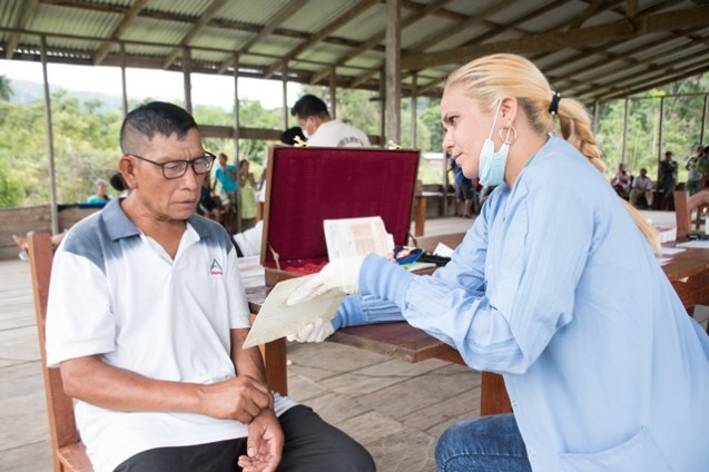 One of the residents tries his new eyewear (glasses) he received after being examined by an Ophthalmologist.