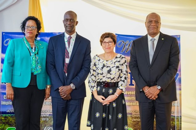 From left: Mrs. Yolande Bain- Horsford, Minister of Agriculture and Land of Grenada, Chief Executive Officer of the Guyana Lands and Surveys Commission, Mr. Trevor Benn, Executive Secretary of the United Nations Convention to Combat Desertification, Ms. Monique Barbut and Minister of State, Mr. Joseph Harmon, at the opening of the CRIC 17, this morning.