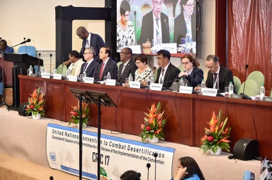 The panel at the opening ceremony of the Committee for the Review of the Implementation of the Convention (CRIC 17) of the United Nations Convention to Combat Desertification in session at the Arthur Chung Convention Centre. Minister of State Mr. Joseph Harmon is seated fourth from left.