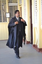 Attorney General and Minister of Legal Affairs, Basil Williams, SC. entering the court room.