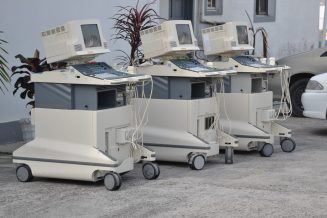 The three working Ultrasound machines donated to the Ministry of Public Health.