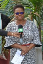 Minister of Public Health, Volda Lawrence expressing thanks for the ultrasound machines