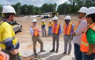 Minister of Natural Resources, Raphael Trotman and Minister of Business, Dominique Gaskin, tours Bonasika Bauxite Project.