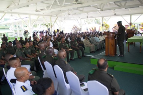 Chief of Staff, Brigadier Patrick West during his address at the Annual Officers' Conference.