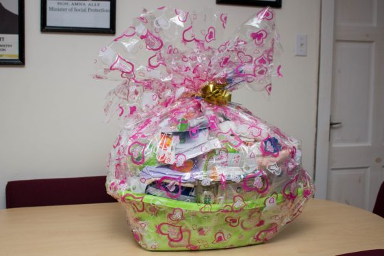 The hamper donated by the Minister of Social Protection, Amna Ally