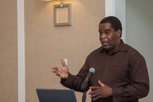 University of Guyana Lecturer, Sherwood Lowe, presenting the NMSPFA.