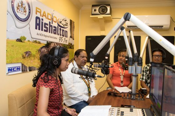 Prime Minister, Moses Nagamootoo along with Regional Manager Michella Abraham-Ali and Broadcasters Natasha and Nicholai Poon at the launch of the local programmes at Radio Aishalton, Region 9
