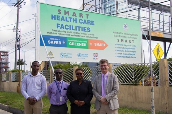 From left: Regional Health Officer, Region Four, Quincy Jones; PAHO representative for the Guyana office, Dr. William Adu-Krow; Minister of Public Health Volda Lawrence and UK High Commissioner Greg Quinn.