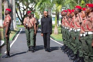 President and Commander in Chief, David Granger reviewing the Officers.