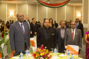 Prime Minister Moses Nagamootoo along with H.E. V. Mahalingam and Minister of State Joseph Harmon