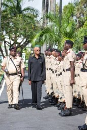 President David Granger reviewing the Guard of Honour.