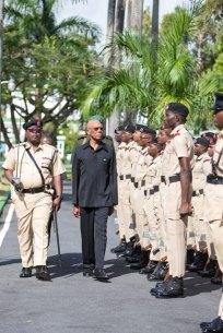 President David Granger reviewing the Guard of Honour.