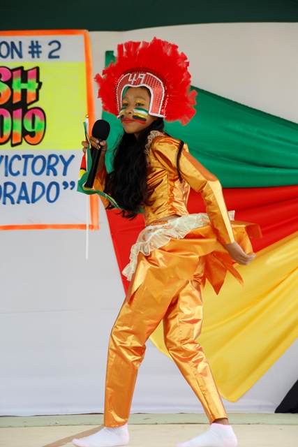 """First place winner Sarah Fredericks of Cotton Field Secondary School performing """"Celebrating Mashramani"""" in the Calypso 11 to 13 Category."""