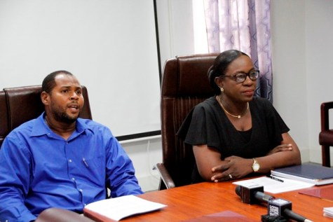 GSDEP Project Coordinator, Mr. Terrence Siebs (left) and Minister of Education, Dr. the Hon. Nicolette Henry at today's contract signing.