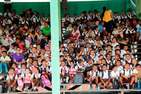 A section of the audience gathered at the Anna Regina Community Centre Ground to observe the first day of competition.