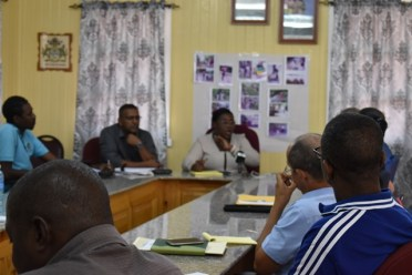 Minister within the Ministry of Natural Resources, Simona Broomes during a town hall meeting after the site visit.
