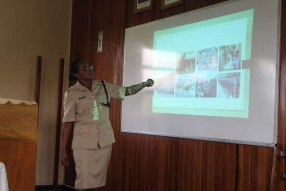 Inspector Margarett Grosvenor lectures youths in Berbice.