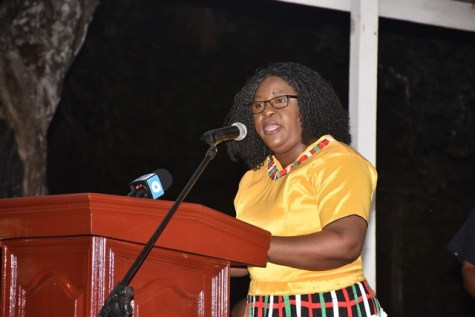 Minister within the Ministry of Public Health, Dr. Karen Cummings, delivering feature remarks at Region 1 flag raising ceremony in observance of the country's 49th Republic Anniversary.
