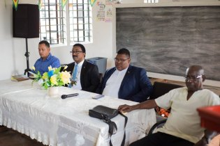 Members of the head table from left, Mayor of Mabaruma. Chris Phang, Attorney General and Minister of LEGAL Affairs, Basil Williams, Regional Chairman Region 1, Brentnol Ashley and Regional Executive Officer, Randolph Storm.