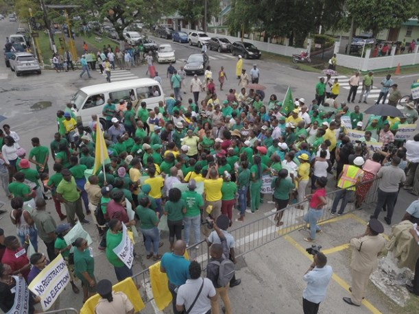 Overhead shot of the protestors gathering at High and Lamaha Street, Georgetown.