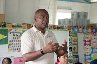 National Data Management Authority (NDMA), Marlon Pearson Williams addressing the residents of Great Falls.