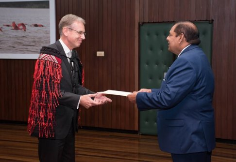 Non-resident High Commissioner of New Zealand to Guyana, Anton Ojala presents Letter of Credence to Prime Minister, Moses Nagamootoo.