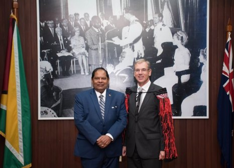 Non-resident High Commissioner of New Zealand to Guyana, Anton Ojala and Prime Minister, Moses Nagamootoo.