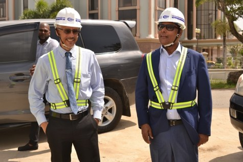 [In the photo, from left to right] Minister of Business, Dominic Gaskin and Owner of Pegasus Hotel, Robert Badal.