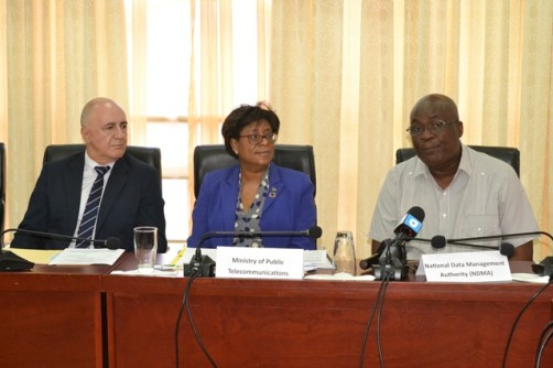 [In the photo, from left] UNDP Resident Representative (ag), Snr. Roberto Galvez, Minister of Public Telecommunications, Catherine Hughes and NDMA Chairman, Floyd Levi.