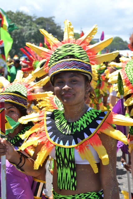 Masqueraders in full costume on the road, Mashramani 2019 in Guyana.