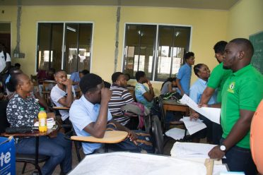 An official from the Linden Technical Institute briefing potential students on the Mineral Prospect and Map Reading Level 1 course