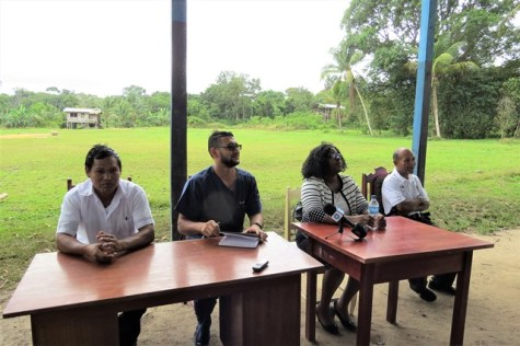 From left: Sean Thompson, Community Health Worker, Hobodeia Health Post; Dr Vishal Ramjas, Regional Health Officer (ag); Minister within the Minister of Public Health Dr Karen Cummings and Sylvestor Antonio, the village Toshao.