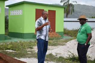 Minister of Citizenship, Winston Felix also paid a visit Aranaputa Neighbourhood Democratic Council (NDC) ground. Councillor, Adon Jacobus provides the minister with an insight into the project