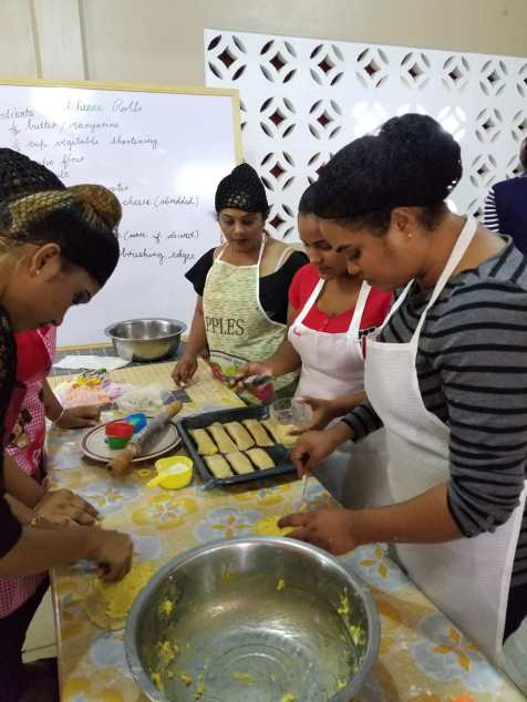 Participants in the cooking class