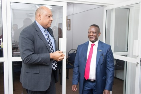 Minister of Natural Resources, Raphael Trotman meets Deputy Minister of Mineral Resources of South Africa, Godfrey Oliphant.