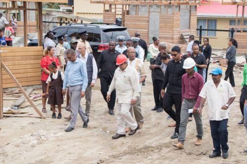 Prime Minister, Moses Nagamootoo as he tours the rehabilitation site